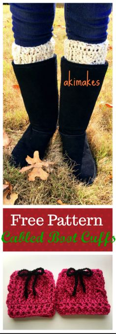 Free pattern-Cabled boot cuffs! A very quick and easy project, Great gift idea!