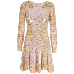 Zuhair Murad bead embellished dress (5,347 CAD) ❤ liked on Polyvore featuring dresses, party dresses, vestidos, drop waist dress, sequin cocktail dresses, pink sequin cocktail dress, long sleeve sequin dress and embroidered dress