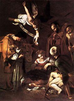 Nativité avec St Francis et du Saint-Laurent, huile de Caravaggio (Michelangelo Merisi) (1571-1610, Italy)