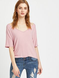 Shop Strappy V Neck Ribbed Knit Tee online. SheIn offers Strappy V Neck Ribbed Knit Tee & more to fit your fashionable needs.