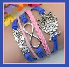 Blue & Pink Multi Layered Wrap Bracelet Love Infinity Symbol & Owl Charm Women's - Bracelets infinity symbol,  #bracelet -  jewelry
