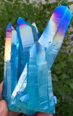 Light Blue Aura Quartz Crystal Titanium Bismuth Silicon Cluster Rainbows