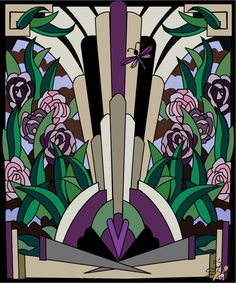 Art Deco Glass - Media Adobe Illustrator  Drawn/Created by Graphic Designs By Suz
