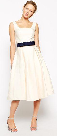 Chi Chi London Debutant Prom Skater Dress With Contrast Belt $118