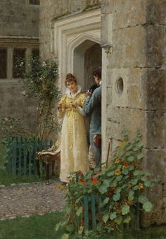 a flirtation-Frederik Hendrik Kammerer Edmund Blair Leighton (1853 - 1922) - The request
