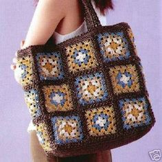 Crochet granny squares handbag with tassels and by MyNicePurses Sac Granny Square, Point Granny Au Crochet, Crochet Squares, Granny Squares, Crochet Diy, Crochet Wool, Crochet Crafts, Crochet Handbags, Crochet Purses