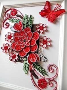 Ayani art: Quilling in Red and White Neli Quilling, Quilling Butterfly, Quilled Roses, Paper Quilling Cards, Paper Quilling Flowers, Quilling Work, Paper Quilling Designs, Quilling Paper Craft, Quilling Patterns