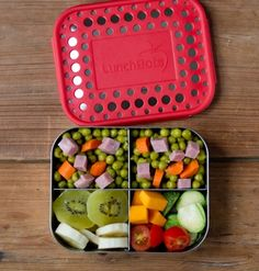 LunchBots Quad with Dots 4 Compartment Stainless Steel Food Container
