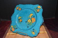 "Royal Winton Grimwades England Blue w/ Orange-Yellow Flowers 10"" Square Plate #RoyalWinton"