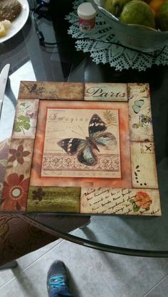 Mariposita Wood Crafts, Fun Crafts, Diy And Crafts, Paper Crafts, Decoupage Vintage, Decoupage Paper, Altered Cigar Boxes, Altered Canvas, Vintage Shabby Chic