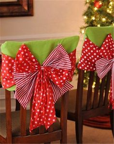 2013 Christmas bow chair cover set, Christmas green red bow cover, Christmas home decor #Christmas #chair #cover