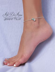 Something Blue Anklet Initials And Bead Wedding Anklet For Bride