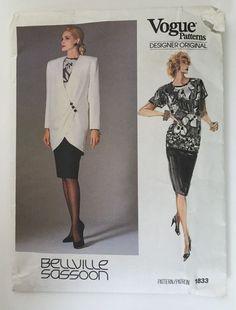 1980's Vogue Bellville Sassoon Jacket Blouse Skirt Top Size 10 Uncut Pattern     #Vogue #Retro