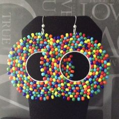 Seed Bead Earrings - Rainbow Bubbles Beadwork Hoop Earrings - Big Bold Bright Colorful Beaded Hoops
