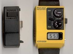 Citizen Radio Watch Year: 1985  Almost 25 years before the TuneIn app became available for iOS, you could dial up live broadcast radio on your wrist using this little number. Both AM and - are you sitting down? - FM all right there! What better way to enjoy Wolfman Jack or Casey Kasem spinning the latest from A Flock of Seagulls or Dexy's Midnight Runners? Dr. Johnny Fever would have approved. Retro Watches, Vintage Watches, Cool Watches, Watches For Men, Gadgets, Android Watch, Retro Futuristic, Vintage Games, Beautiful Watches