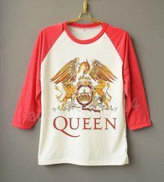 QUEEN Shirt Freddie Mercury Shirt British Rock Band Shirt Raglan Baseball Shirt…