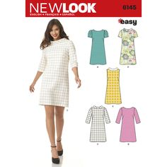 Misses' knee-length shift dress has wide round neckline with or without bias-cut stand collar and can be made sleeveless or with 3/4 length, short or pleated sleeves. New Look sewing pattern.
