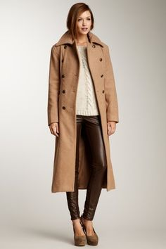 Wool Blend Long Trench Coat