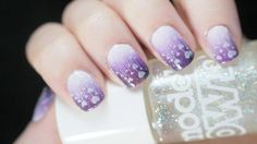 Stuff Used: Base: OPI Nail Envy Layer 1: Snow Me White by Sinful Colors Gradient Colours: Snow Me White by Sinful Colors Lilac Sheen by Models Own Baby Bellini by Rimmel Night Flight by Rimmel Glit…