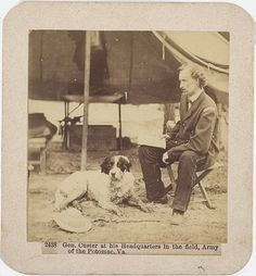 Brady Civil War photograph of Gen. George A. Custer in the field at Headquarters, Army of the Potomac, Va.  *s*
