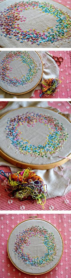 Embroidery Tutorial on Left-Over Threads and What You Can Do With Them. Try This Cross Stitch Stash Buster from Pumora.de. jwt