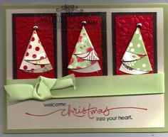 stampin up trio of folded trees on embossed and matted blocks inch circle cut in half to make tree two sided patterned papers - Folded Christmas Cards