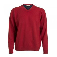 A rich red lambswool ~Magee v-neck jumper. The wool is washed giving you a beautifully soft texture. Features include a tonal wolfhound and contrasting inside collar. Jumper, Men Sweater, Wolfhound, Tweed, Knitwear, Contrast, V Neck, Texture, Wool