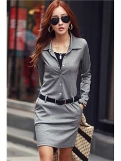 Solid Color Long Sleeve Sheath Dress with Belt