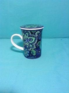 Vera Bradley Blue Rhapsody Coffee Tea Cup Mug With Lid Coaster Barnes And Noble