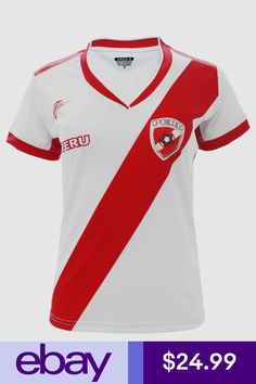 4b6dcc228fb Peru Women Soccer Jersey Arza Design Color White/ Red Polyester With V Neck
