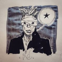 I am finding myself deeply impressed with David #Bowie's final record. I'm sure my opinion will change over time but right now I think #Blackstar maybe one of if not the best record of his career. As a statement about the self and about stating something on the way out it is poignant arresting and yes deeply disturbing at different levels. #art #drawing #lazarus #thinwhiteduke #ziggystardust