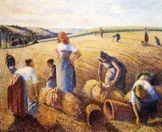 """Camille Pissarro      The Gleaners    oil on canvas 1857    83.5 x 111 cm  Millet was also an important early influence on Pissarro, who was attracted to subjects like this and continued to paint them throughout his career. Millets plain and sentimental paeans to peasant life were criticized for the """"vulgarity"""" of their subject matter, but formed an important model for artists such as Pissarro and later van Gogh."""