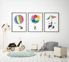 Bedroom Themes, Kids Bedroom, Bedroom Decor, Printed Balloons, White Balloons, Decorative Pebbles, Blue Ceilings, Black And White Background, Floral Pillows