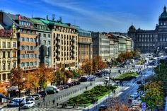 Beautiful view of the Wenceslas Square and our hotel in the middle.