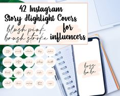 Instagram Story Highlight Covers | IG Cover Photos for Highlights, For Influencers, Beauty, Blog, Fashion, Lifestyle | Pink Brush Stroke by DesignerJaim on Etsy