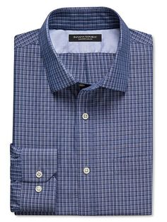Tailored Slim-Fit Non-Iron Blue Tattersall Shirt Product Image