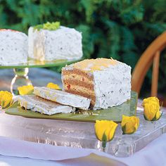 Frosted party sandwiches made from classic cold spreads like egg salad, chicken salad, tuna salad, ect. Make a triple decker crustless sandwich and spread a cream cheese mixture over the top and sides. Garnish with celery leaves, paprika, or cheddar cheese. Make the night before and chill.  Use a serrated knife to cut...and enjoy!! :)