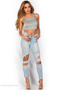 Stretch Denim Ripped Light Blue Skinny Jeans