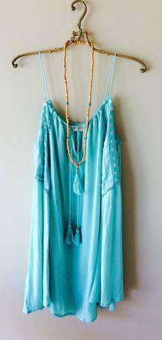 Image of Surf Gypsy mint tassle tie Beach bohemian resort swing dress