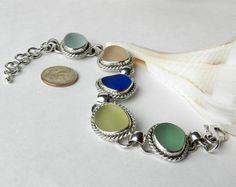 Pastel Sea Glass Bracelet - Artisan Sea Glass