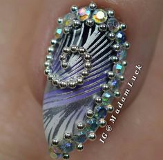 Stamping nail art over gradient with AMAZING accent nail (silver beads and rhinestones)