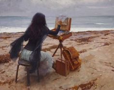 Sitting on the seashore painting the sea... art by Jeremy Lipking