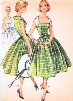 1950s VINTAGE McCALLS 4428 DRESS PATTERN GLAM PORTRAIT NECKLINE FULL SKIRT BEAUTIFUL STYLE
