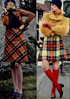 kilt and tartan fashion, L'Officiel 1972 Seventies Fashion, 70s Fashion, Fashion History, Vintage Fashion, Womens Fashion, Fashion Trends, Vintage Style, Mode Tartan, Moda Retro