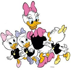 Daisy Duck and her nieces, April, May, and June Disney Duck, Disney Love, Disney Magic, Disney Mickey, Disney Art, Disney Pixar, Mickey Mouse, Donald Disney, Cartoon Network