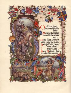 Alberto Sangorski illustration from Morte D'Arthur: A Poem by Alfred Lord Tennyson Medieval Manuscript, Medieval Art, Renaissance Art, Illuminated Letters, Illuminated Manuscript, Ap 12, Illustration Art Nouveau, Illumination Art, Antique Books
