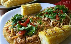 Cool Ranch Crockpot Chicken Tacos or Tostadas