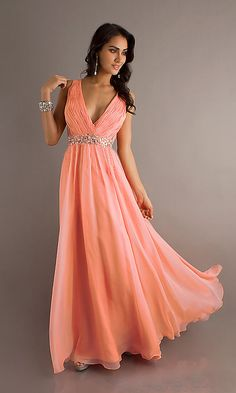 ZJ0108 pretty girl coral peach colored deep v neck elegant formal evening gowns dresses long gown party night out US $64.99 - 69.99