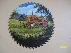 "Minneapolis Moline Tractor painted on 10"" Round Saw Blade by Arkansas Artist Diana"