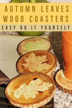 Learn how to make these Autumn leaves wood coasters. This easy and fun do it yourself fall project is a great project idea to make this fall season. #fallDIY #diyfallleavescoasters #fallprojectidea #fallcoasters